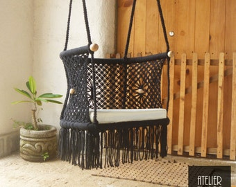 OVAL CHILDREN CHAIR- Macrame 100% Cotton-Black Color- Custom sizes and Colors available upon request. Optional Pillow-Ships from Nicaragua