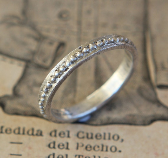 Archaic Series Aged Hand Cast Beaded Sterling Silver Wedding  Band Free Shipping