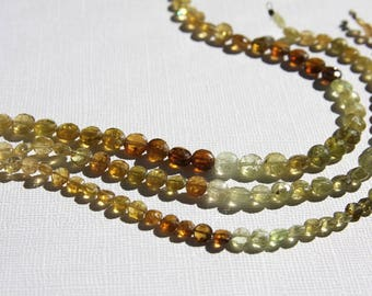 Grossular Garnet Grossularite Beads Faceted Coin Flat Half Strand 8 Inch Strand 5mm 6mm 7mm Size Shaded Brown Amber Moss Green Natural Stone