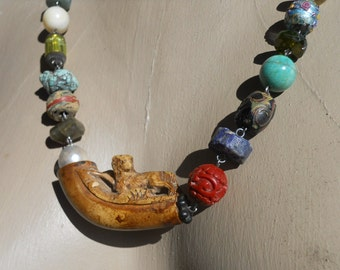 Loyalty       Antique Bone Dog Pipe Tribal Assemblage Necklace