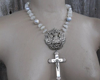 SALE....Grace flows down....Antique Mother of Pearl Silver Crucifix Pearl Necklace