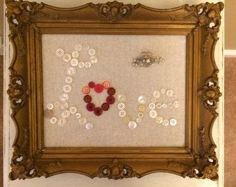 Vintage Frame Button Love Linen Brooch Art