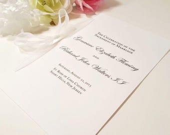 White Wedding Programs, Catholic Wedding Program, Black and White Programs, Ceremony Wording, Romantic Program with Organza Ribbon SAMPLE