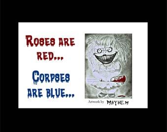 Dark Humor Card, Sarcastic Card, Dark Poem Card, Greeting Card, Dark Humor, Mayhem Art Card,  Creepy Card, Scary Card, Card for Friend, Fun