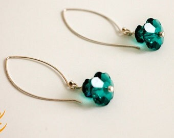 Emerald Green Margarita Swarovski Crystal Sterling Silver Earrings, Emerald Flowers Earrings, Emerald Christmas Earrings, Fashion Earrings
