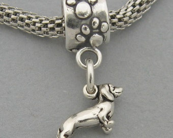 DACHSHUND DOG Sterling Silver 925 European Dangle Paws Bead Tiny Mini Charm 3535