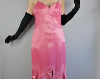90s does 30s Women's Pink Burlesque Long Satin Art Deco Pinup Mermaid Formal Sleeveless Party Dress, Vintage, Size Medium, FREE SHIPPING