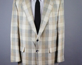 Mens Silk Sport Coat. Plaid Sport Coat. Mens Suit Jacket. Gray Beige Sport Coat. Vintage. Size Medium. GOGOVINTAGE