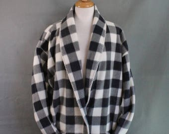 80s Womens Jacket, Charcoal Gray White Buffalo Plaid Check Plus Size Fleece Casual Jacket, Outdoor, Size Extra Large, FREE SHIPPING