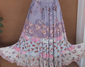 Multi Tiered, Very Full, Southwestern Style Broomstick Maxi Skirt