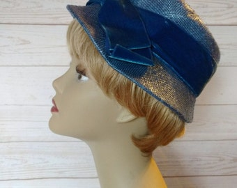 Blue Straw Hat - Blue Velvet Bow - Blue Spring Hat - Hat with Netting - Vintage 1960s Bucket Hat - Easter Hat - Blue Wedding