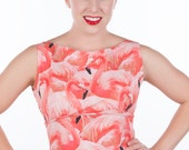 50's style Pink Ladies Dress, Flamingo, coral, kitsch, Pinup, vintage reproduction, novelty print