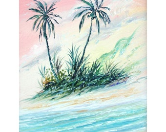 "Friends Gift coconut tree's art print 8"" x 10"" Tropical home decor artbydennis"
