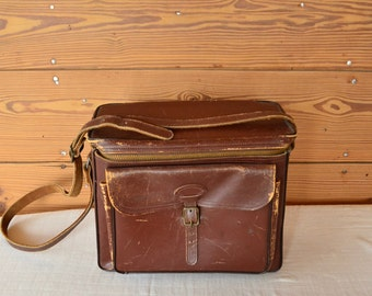 perrin brown leather camera bag