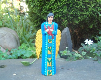 """Beautiful Oaxaca Folk Art Carved Angel in Blue Robes and holding a Red Dove in the style of Francisco Santiago Gruz ~ 12"""" tall ~ Unsigned"""