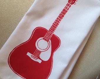 Tea Towel. Guitar Red. Hand Screen Printed.