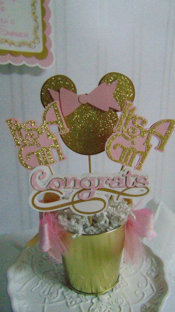 Minnie mouse pink and gold centerpiece baby shower