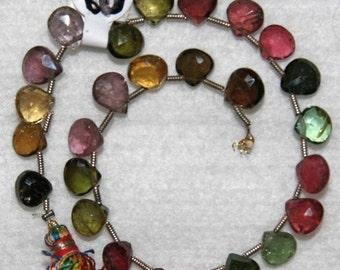 Tourmaline, Multicolor Briolette, Heart Briolette, Faceted Tourmaline, Gemstone Bead, Natural Stone, Half Strand, 7 mm, AdrianasBeads