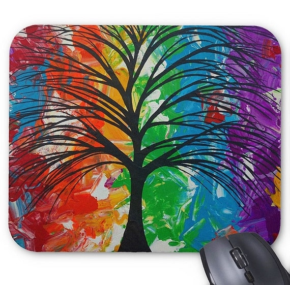 Mousepad Mouse Pad Fine Art Painting Abstract Tree Fine Art Contemporary Modern 'Colorful Life' Rainbow Prismatic Amber Lamoreaux Original