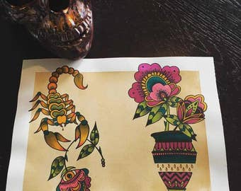 American Traditional Scorpion and Vase of Flowers tattoo flash sheet print