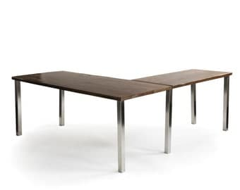 Barnwood L Desk, Rustic Modern Office Furniture, Custom Wood Desk with choice of wood finish and steel base in your style