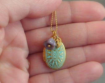 Winded Heart. Gold and Mint Patina Locket Necklace. 16k gold plated and brass. delicate. whimsical. gift for her. patina. boho jewelry.
