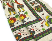 Vintage Linen Tea Towels, Dutch Design, Green Red Yellow, Set of 2