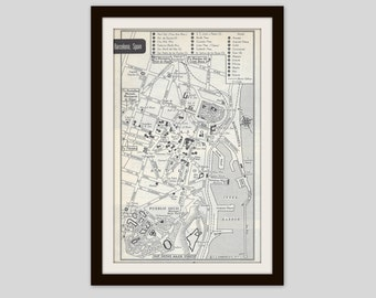 Barcelona Spain Map, City Map, Street Map, 1950s, Europe, Black and White, Retro Map Decor, City Street Grid, Historic Map