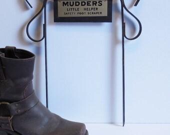 Vintage boot scraper MUDDERS LITTLE HELPER wrought iron Safety foot scraper Rustic Salvage