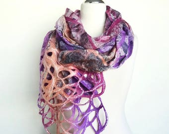 Purple Felted Scarf, Silk and Wool scarf, Boho scarf, Unique Handmade scarf, Felt scarf