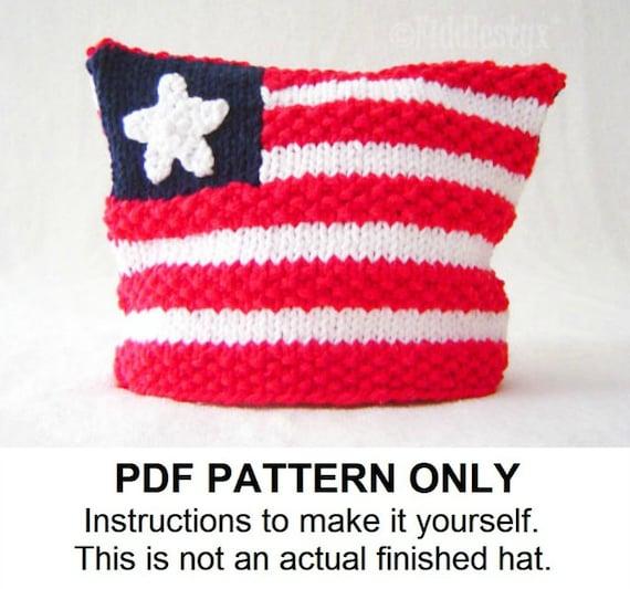 Knitting Pattern American Flag Hat Pattern Hat Knitting