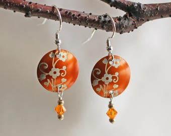 Tangerine Orange Earrings - Orange Earrings - Flower Earrings - Spring Earrings - Summer Earrings - Metalwork Earrings - Colorful Earrings