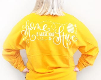 Home is Where Your Hive Is  Ladies Game Day Jersey - Team Spirit Oversized Women's Jersey Crown & Honey Bee Jersey Honeycomb Hive Jersey Tee
