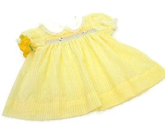 Vintage Baby Dress (c. 1950's) Yellow Girls Dress with Smocking  /  Infant Girl  /  Baby Shower Gift  /  Smocked Dress