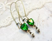 Kiss me I'm Irish,Vintage Peridot Apple Green Heart Rhinestones with Tiny Vintage Pearl Earrings by Hollywood Hillbilly