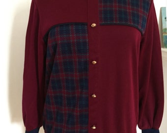 Plaid Colorblock Pullover Top by Cricket Lane, Vintage 1980s, Burgundy Maroon Navy, Fancy Gold Buttons, Faux Buttondown,