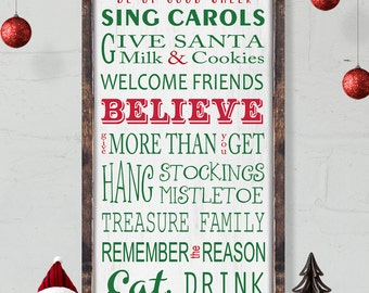 Christmas Rules Sign| Christmas Sign| Christmas Decor | Typography Word Art Sign| Wood Sign| Typography Word Art| Framed Sign