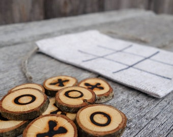 Tic Tac Toe, Wooden game, Travel game, Wooden toy, Noughts and crosses, Table game, Kids gift, Christmas gift