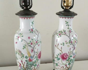 Chinoiserie pair Lamps / Petite Table Lamps