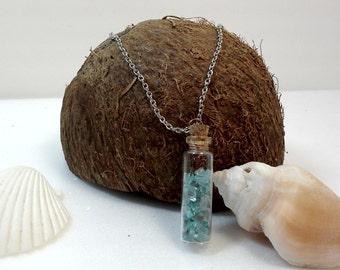 Aqua Sea Glass - Bottle Vial Necklace