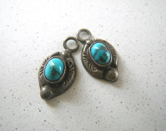 Sterling Silver Turquoise Dot Earrings Small Ovals No Ear Wires Navajo ?