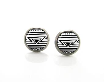 Titanium Stud Earrings Black white aztec Tribal Hypoallergenic Earrings Stud | Titanium Earring Stud | Sensitive jewelry post studs