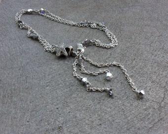 Starfish anklet / wire wrapped chain bracelet or anklet / silver Swarovski