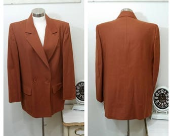 1980's Christian Dior Separates Boyfriend Blazer, Double Breasted, Wool, Rusty Brown, Labeled 12,  #65395