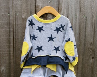 Upcycled KidsTop Shirt Sweatshirt Redesigned Recycled Clothing Recycled Clothes 18-24 Month 2 Years Sweatshirt Stars Blue Grey Yellow