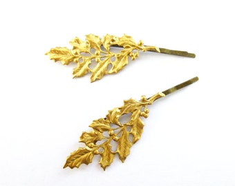 Holly Leaf Bobby Pins Christmas Hair Accessories Gold Holiday Clips Bridal Bridesmaid Rustic Winter Woodland Wedding Womens Gift For Her