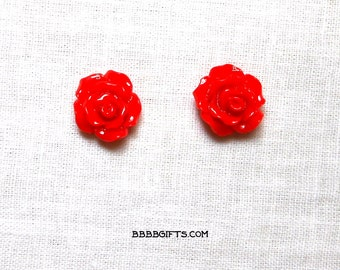 Red Rose Earrings 10mm Stud Earrings Surgical Steel Posts Acrylic