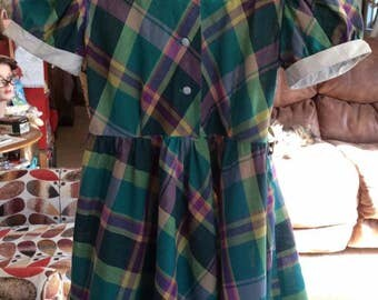 Vintage 1950s Dress Little Girls Plaid Cotton Blend Peter Pan Collar Genuine Vintage From The 1950s