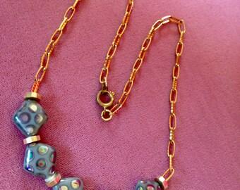 Vintage Ionized Glazed Bead Neaklace Deco Inspired