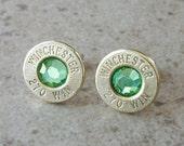Bullet Earring, Winchester 270 Win Brass, Lightweight Thin Cut, Peridot Swarovski Crystal, Nickel free Surgical Steel Stud - 293